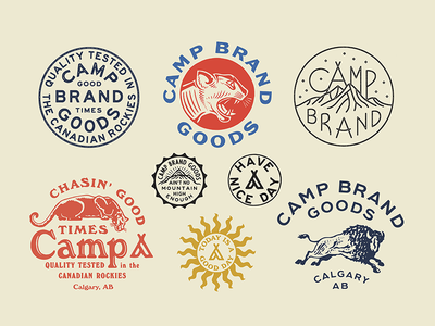 Camp Brand Goods type branding camp nature outdoors illustration cougar apparel