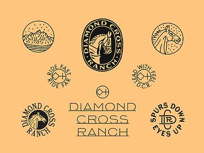 Diamond Cross Ranch western badge typography ranch horse branding marks illustration type