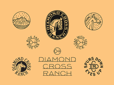 Diamond Cross Ranch western badge typography ranch horse branding marks illustration type