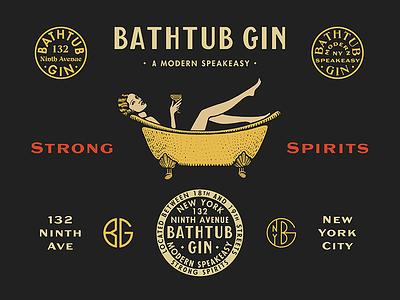 Bathtub Gin illustration liquor gin typography type design brand cocktails bar