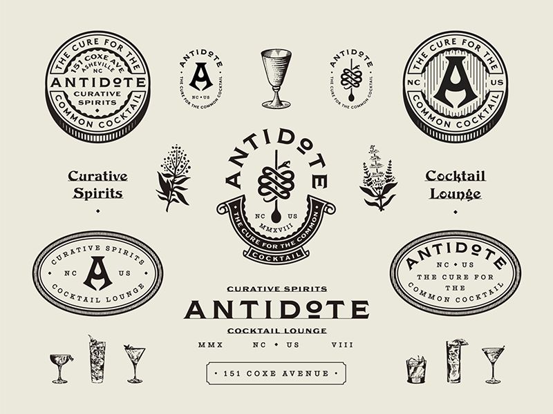 Antidote branding design lounge bar cocktail badge marks typography type branding