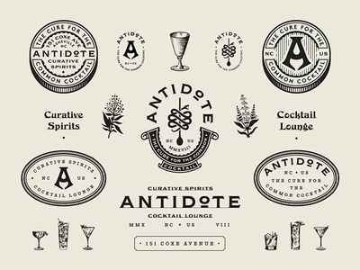 Antidote branding design lounge bar cocktail badge marks typography type branding