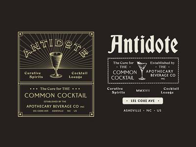 Antidote marks typograph type cocktail lounge branding design brand badge bar