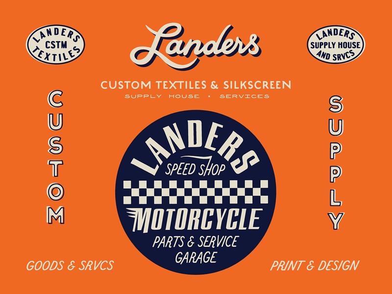 Landers Supply House print custom type brand design branding speed shop moto typography type