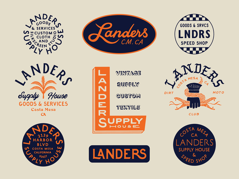Landers Supply House print brand design branding speed shop moto custom type typography type