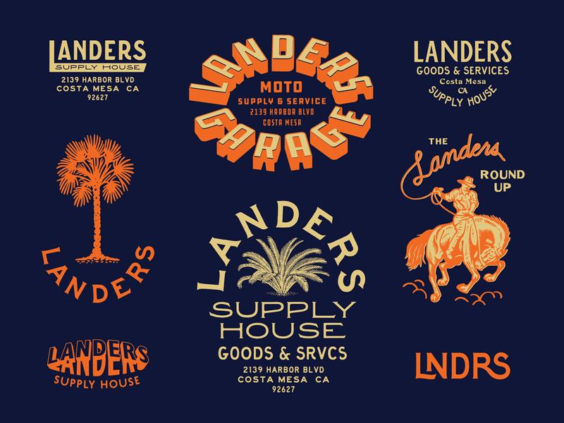 Landers Supply House custom type speed shop print brand design branding moto typography type