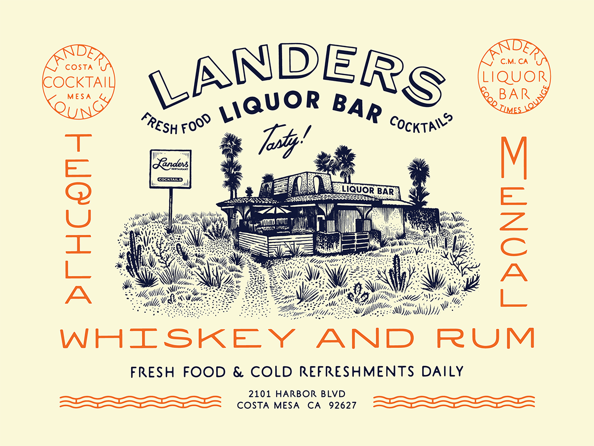 Landers Liquor Bar vintage type print vintage tropical custom type bar restaurant branding illustration typography type