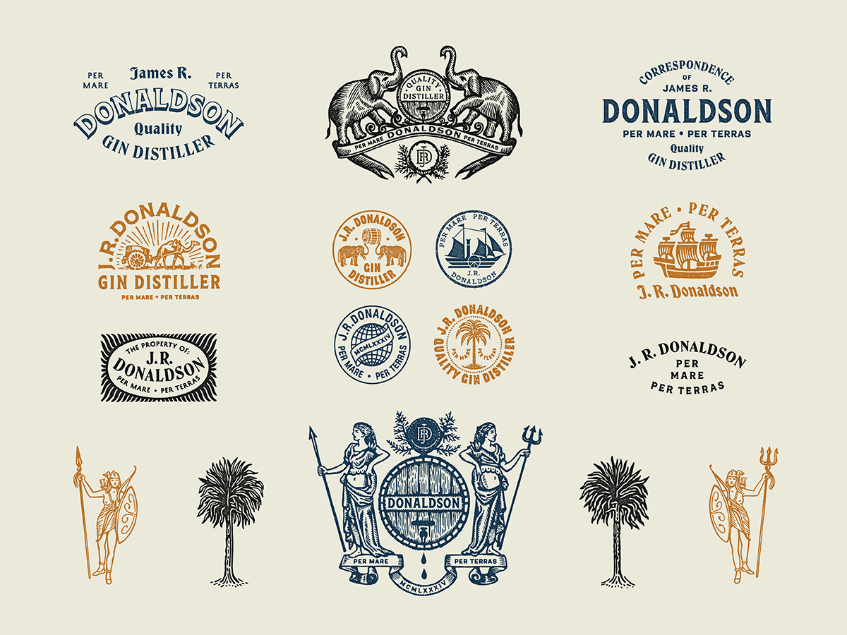 J.R. Donaldson Marks + Typography stamp drawing typography monogram branding badge seal illustration type