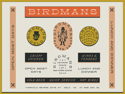 BIRDMANS print color chicken southern restaurant marks illustration branding typography type