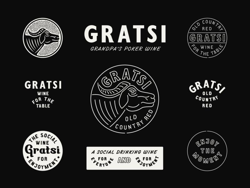GRATSI WINE marks typography type bottle design label design brand design branding packaging design wine