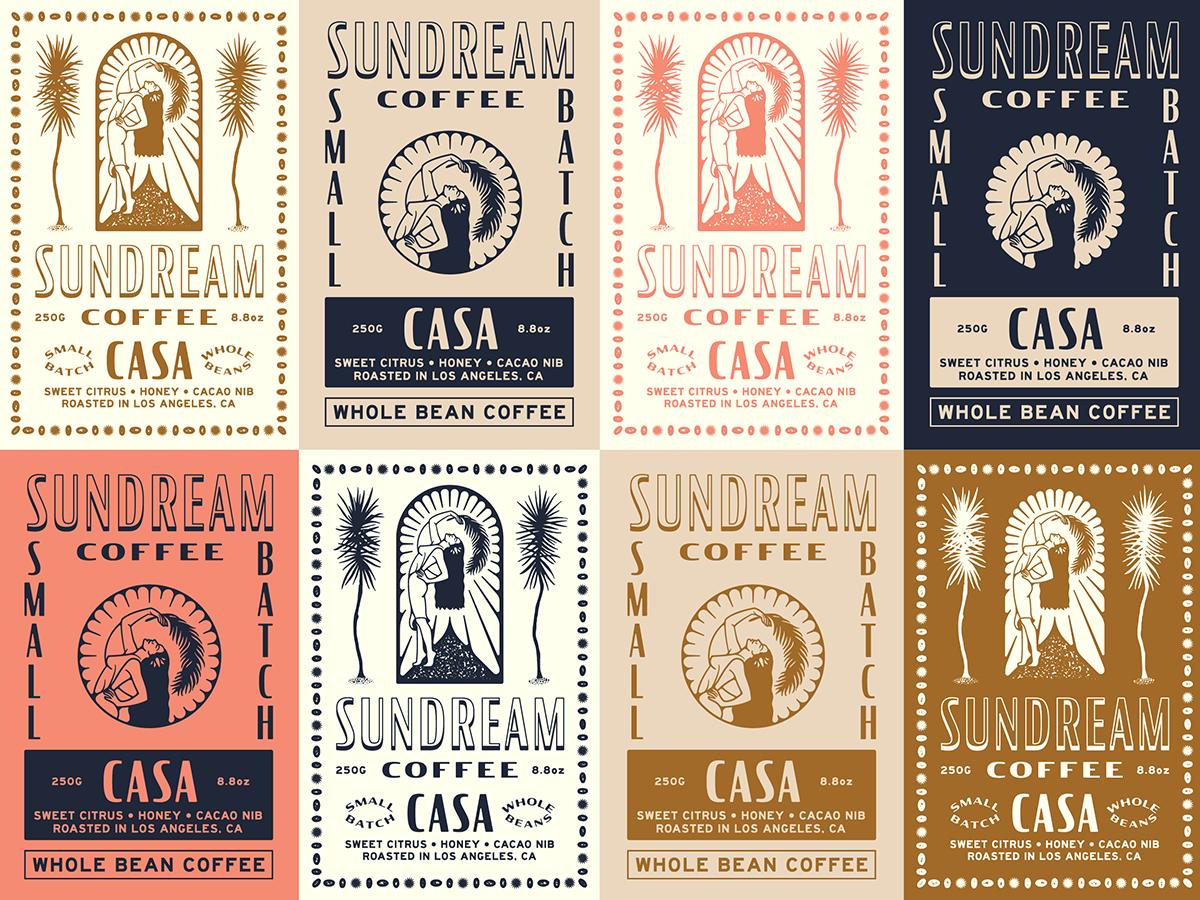Sundream Coffee / Label Exploration graphic label design color typography type tropical illustration branding coffee