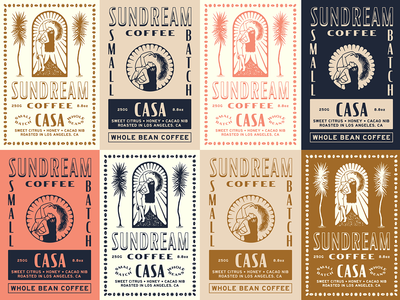 Sundream Coffee / Label Exploration graphic label design color typography type tropical illustration branding coffee