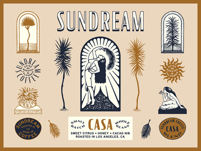 Sundream Coffee / Brand Suite color illustration typography type tropical california coffee branding