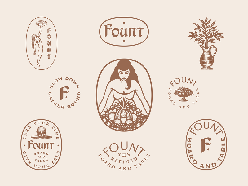 Fount hospitality custom type illustration identiry design brand design marks typography type