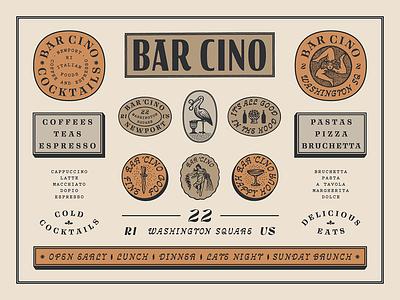 Bar Cino brand design cafe vintage custom type illustration restaurant bar branding typography type