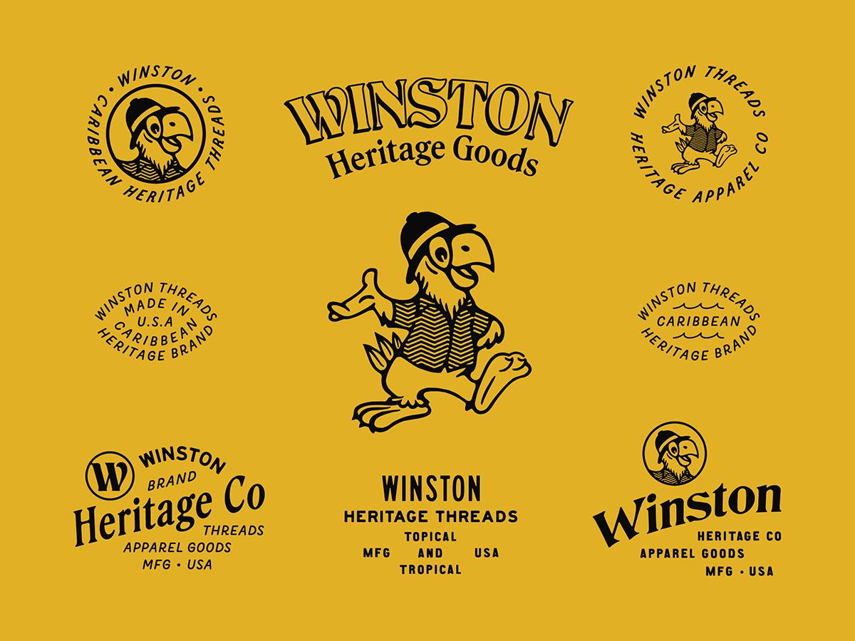 Winston Threads mascot parrot caribbean apparel design vintage typography type branding brand design apparel
