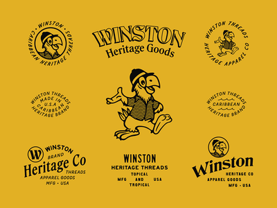 Winston Threads mascot parrot caribbean apparel design vintage typography type branding brand design apparel