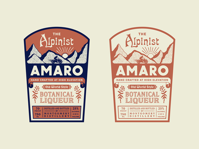The Alpinist Amaro custom type amaro liquor label color typography package design liquor label design label