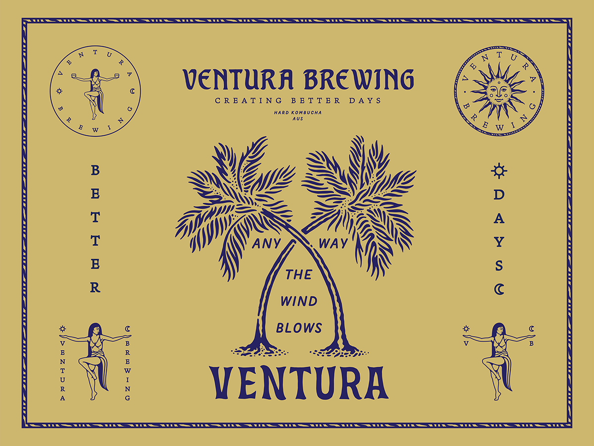 Ventura Brewing / Creating Better Days type typography graphic design marks female figure illustration brand design branding tropical hard kombucha kombucha