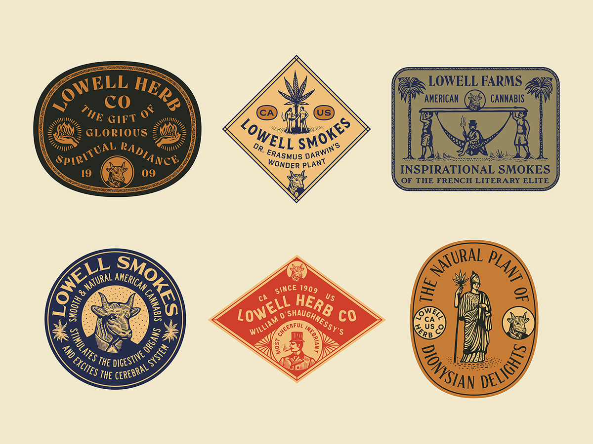 Lowell Herb Co Stickers cannabis branding cannabis vintage type patches stamps typography type illustration badge design badge stickers
