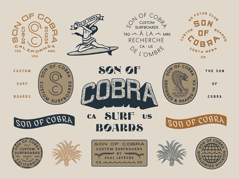 Son Of Cobra print marks surf apparel surf brand design apparel badge illustration branding typography type