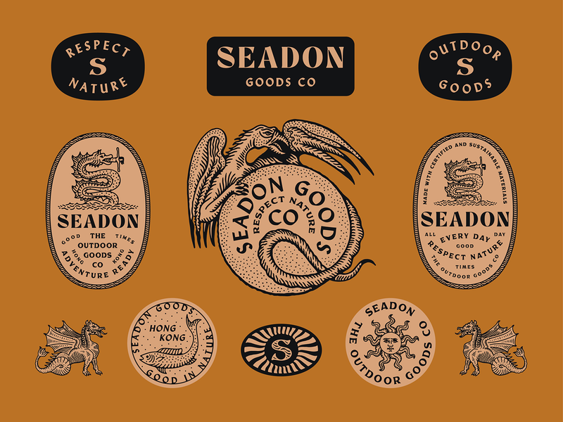 Seadon Goods graphic typography dragon monster land sea illustration marks apparel outdoor brand design branding