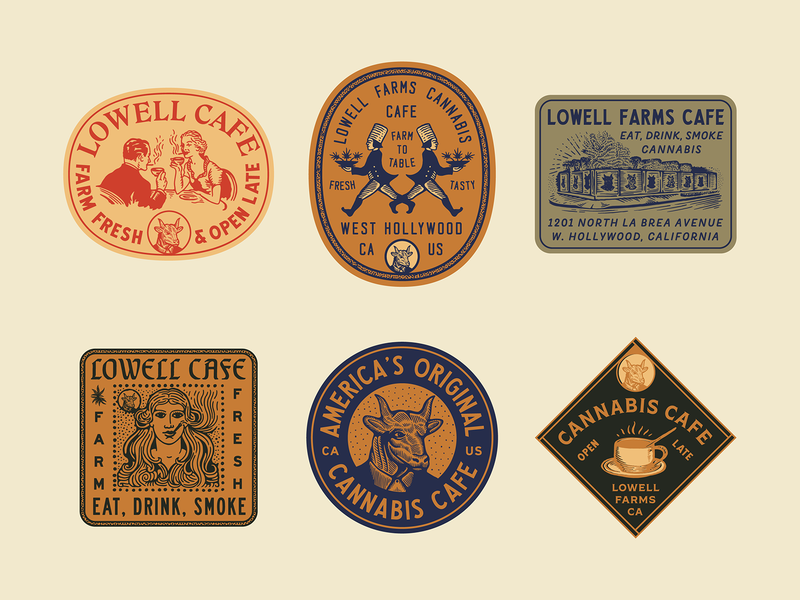 Lowell Cafe Stickers graphic custom type vintage type lowell farms badge typography illustration branding brand design cannabis