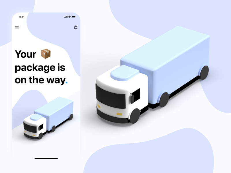 Package Delivery Screen delivery truck sketchapp 3d adobe adobe dimension minimal app ux ui design illustration