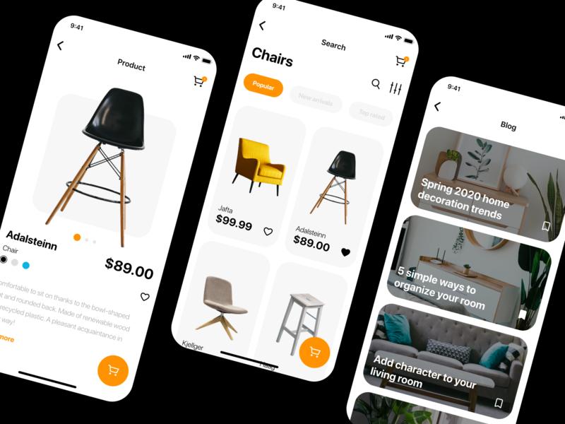 Furniture App Concept photoshop sketchapp mobile app mobile ui orange yellow adobe furniture app furniture app design ui