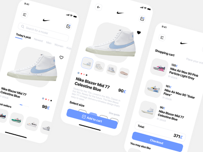 Nike App Concept app ui app design design applicaiton nike shoes app shoes online shopping grey purple application mobile ui mobile app figma