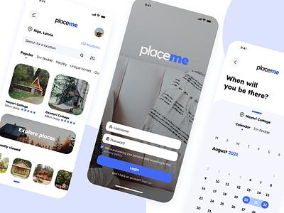 PlaceMe Booking Service App Concept Design graphic design ux ui application airbnb booking service user interface figma mobile app mobile ux logo branding design app ui