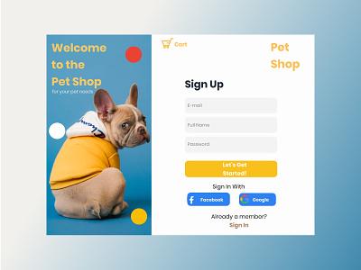 Sign Up Form sign log in signup petshop website minimal flat app icon web ux ui design