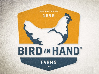 Bird In Hand Farms Logo logo farms illustration crest chicken retro vintage