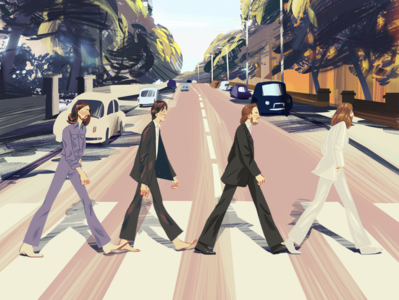 Abbey road abby road beatles charcater illustration