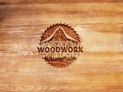 Woodworking logo design for wood shop isolated