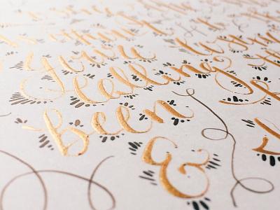 Gold gouache & walnut ink calligraphy script
