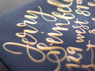 Gold & Navy modern lettering script calligraphy