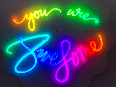 You Are Awesome (interactive sign) leds glowforge lettering