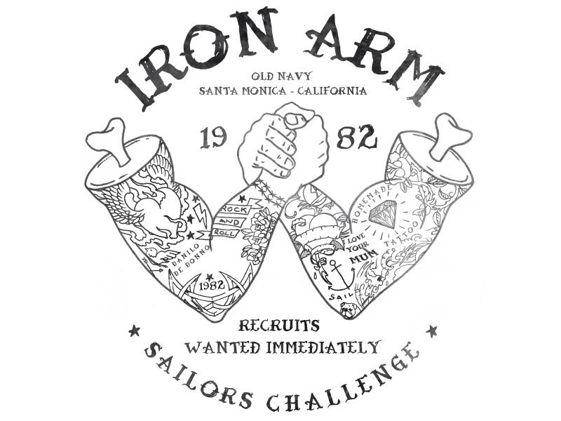 Iron Arm arm wrestling iron arm bones tattoo sailors old navy fashion illustration vector graphic print apparel t-shirt design danilo de donno graphic design