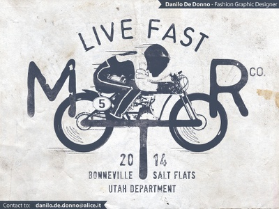 Live Fast Motor Co. vintage graphic motorcycle fashion illustration print apparel t-shirt design danilo de donno bonneville salt flats racing bikers hot wheels fast
