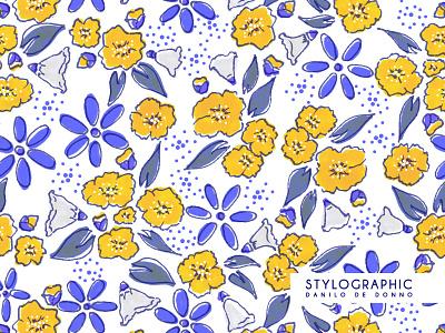 Flowers Pattern Print flawers pattern print textile design surface design fabric print fabric design fabric patter textile print floreal pattern ocher royal blue