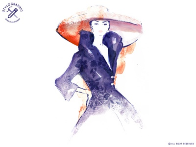 Old Fashion glamour watercolor haute couture paris woman lady illustration painting style sketch fashion design old fashion