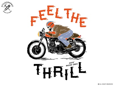 Feel The Thrill rider race speed biker motor garage special moto vintage illustration cafe racer motorcycle moto