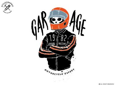 Garage 1982 typography skull pilot bike race biker rider cafe racers motorcycle motor moto garage