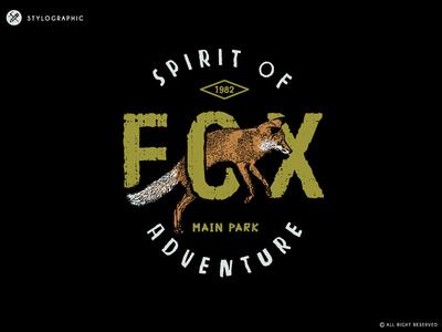 Fox typography animal illustration nature woody wood forest park free wild adventure fox