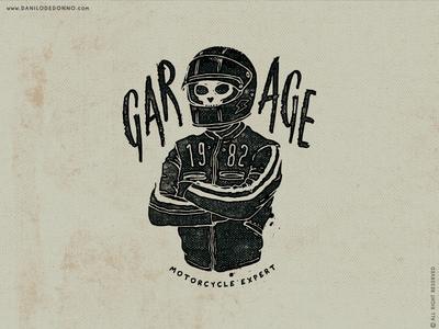 Garage 1982 print design artwork graphic design vintage typography type skull caferacer moto bike biker rider