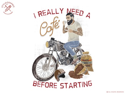 I Really Need a Cafe hipster beard tattoo special bike classic moto classic bike garage motor moto poster biker motorcycle cafe arcer