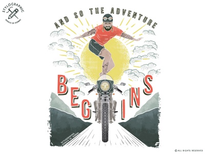 And So The Adventure Begins rider cafe racer tattoo hipster wild wildlife summer vintage motorccycle motorbike moto adventure
