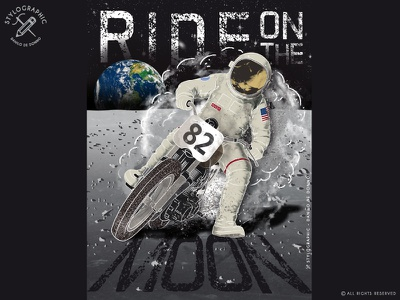 Ride On The Moon motorcycle on the moon usa cafe racer race earth drifting drift scrambler astronaut moon space