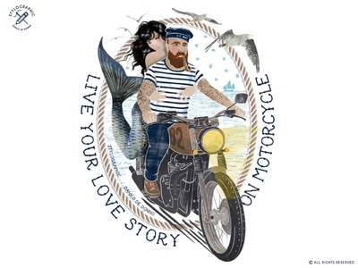 Love Story on Motorcycle illustration vintage biker old navy mermaid anchor sailor caferacer motorcycle